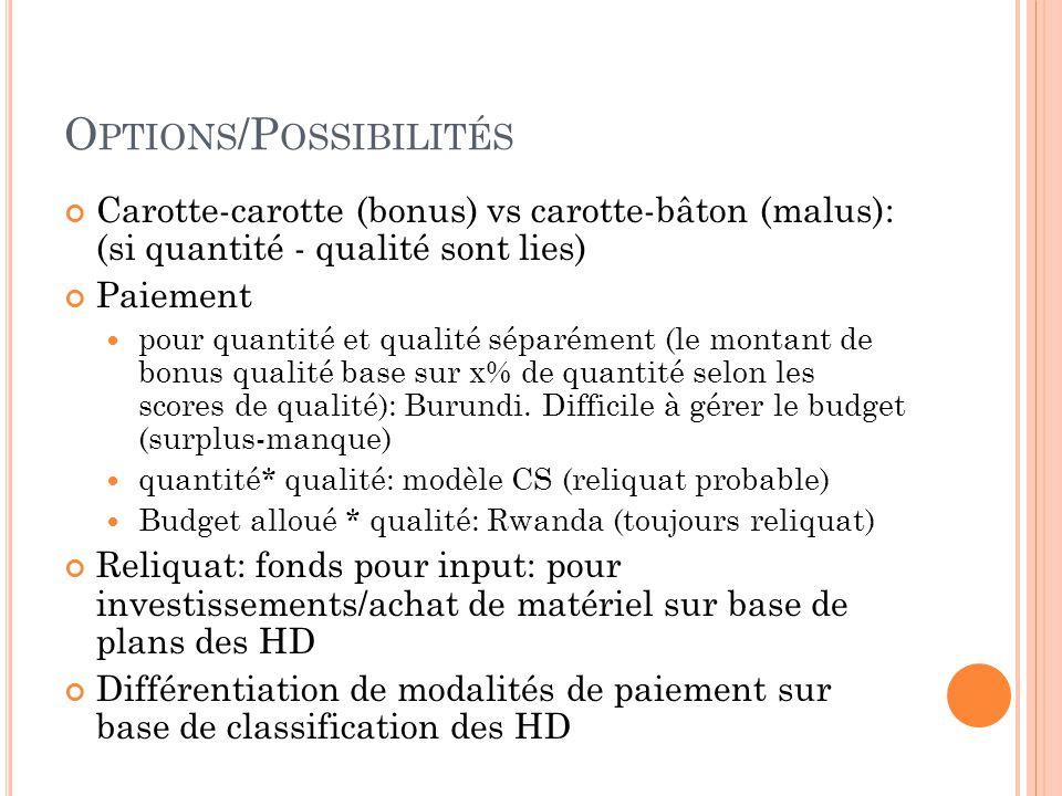 O PTIONS /P OSSIBILITÉS Carotte-carotte (bonus) vs carotte-bâton (malus): (si quantité - qualité sont lies) Paiement  pour quantité et qualité séparément (le montant de bonus qualité base sur x% de quantité selon les scores de qualité): Burundi.