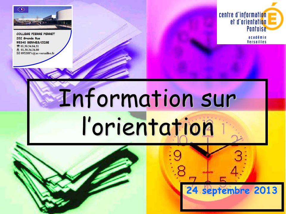 Information sur l'orientation 24 septembre 2013