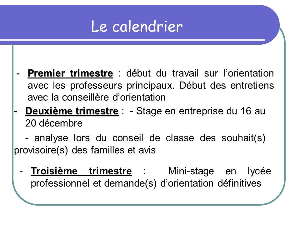 -Premier trimestre -Premier trimestre : début du travail sur l'orientation avec les professeurs principaux.