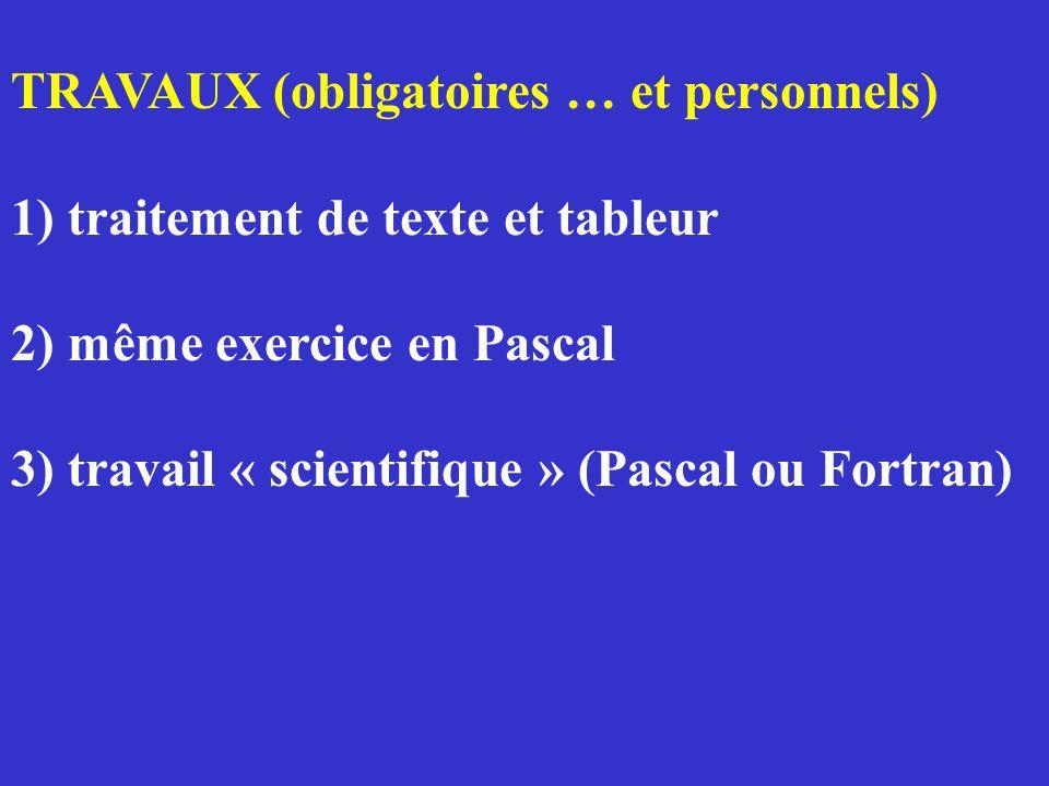 TRAVAUX (obligatoires … et personnels) 1) traitement de texte et tableur 2) même exercice en Pascal 3) travail « scientifique » (Pascal ou Fortran)