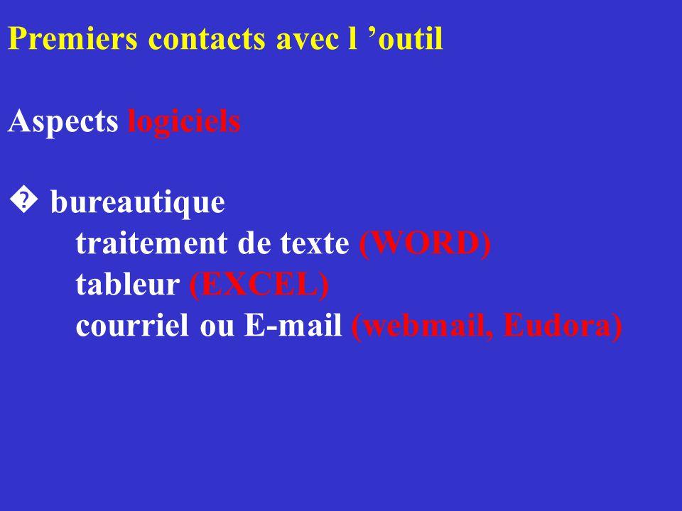 Premiers contacts avec l 'outil Aspects logiciels � bureautique traitement de texte (WORD) tableur (EXCEL) courriel ou E-mail (webmail, Eudora)