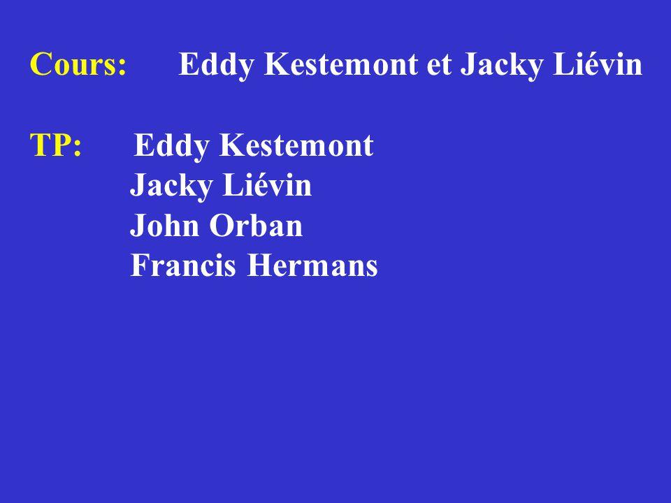Cours: Eddy Kestemont et Jacky Liévin TP: Eddy Kestemont Jacky Liévin John Orban Francis Hermans Etudiant(e)s: 2 de candi Agro, Bio, Chim, Géol, Géogr, Phys divers DEC, DES et DEA CEPULB
