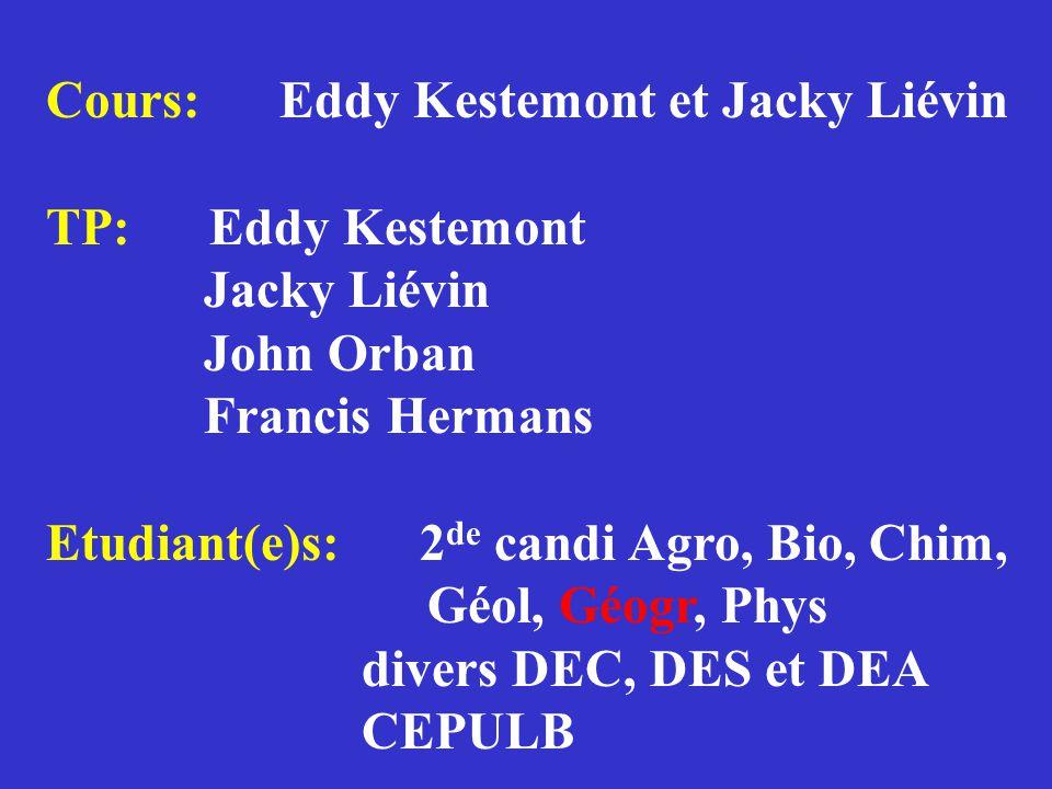Cours: Eddy Kestemont et Jacky Liévin TP: Eddy Kestemont Jacky Liévin John Orban Francis Hermans Etudiant(e)s: 2 de candi Agro, Bio, Chim, Géol, Géogr