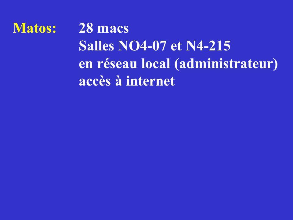 Matos: 28 macs Salles NO4-07 et N4-215 en réseau local (administrateur) accès à internet