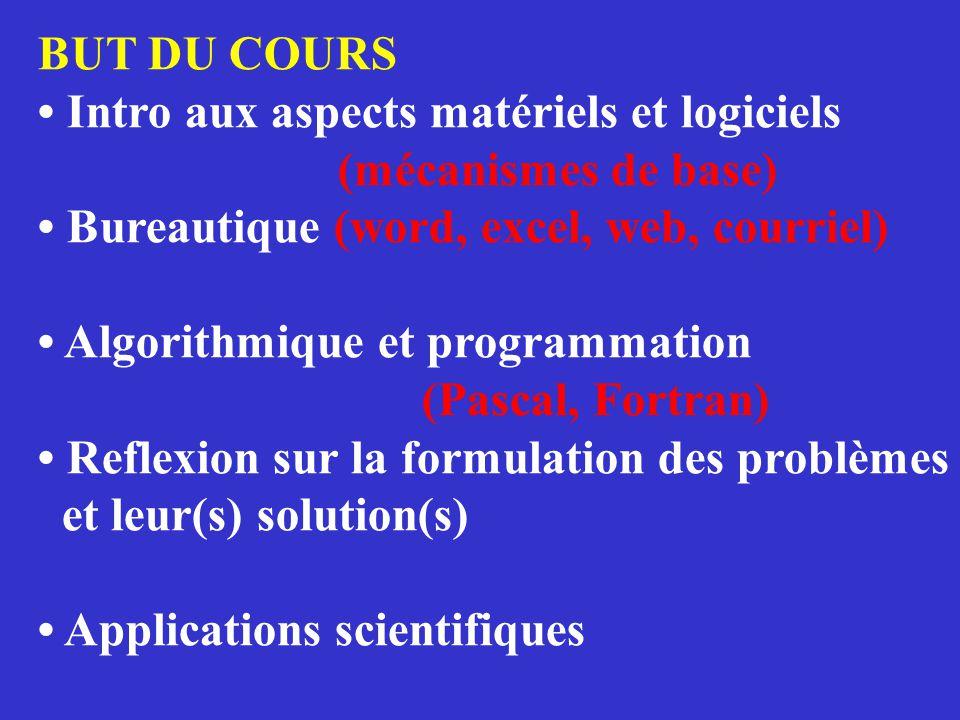 BUT DU COURS • Intro aux aspects matériels et logiciels (mécanismes de base) • Bureautique (word, excel, web, courriel) • Algorithmique et programmati