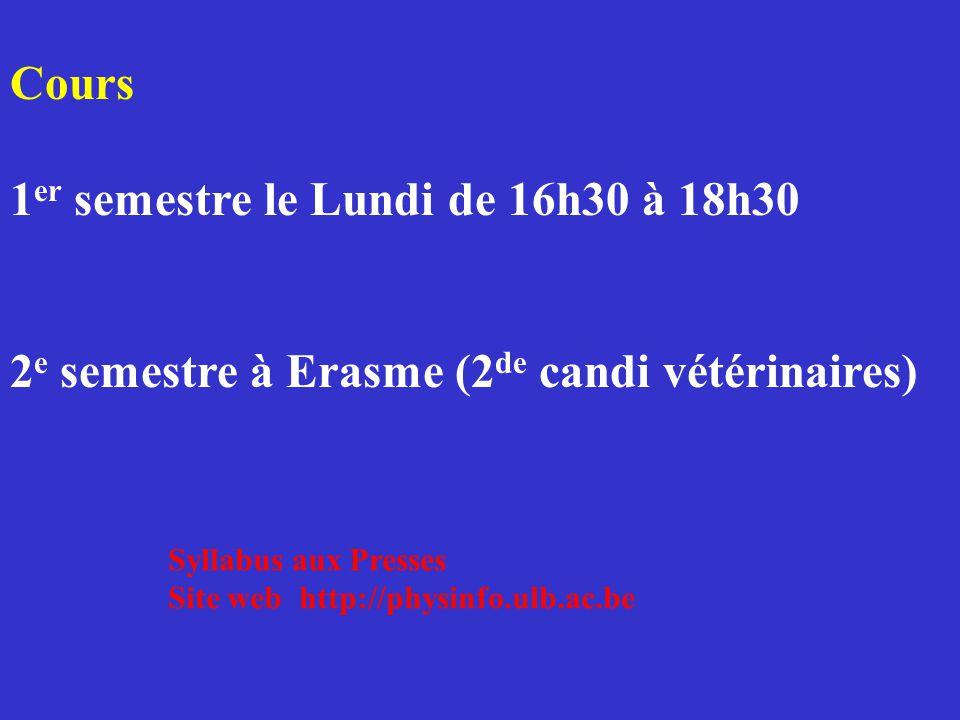 Cours 1 er semestre le Lundi de 16h30 à 18h30 2 e semestre à Erasme (2 de candi vétérinaires) Syllabus aux Presses Site web http://physinfo.ulb.ac.be