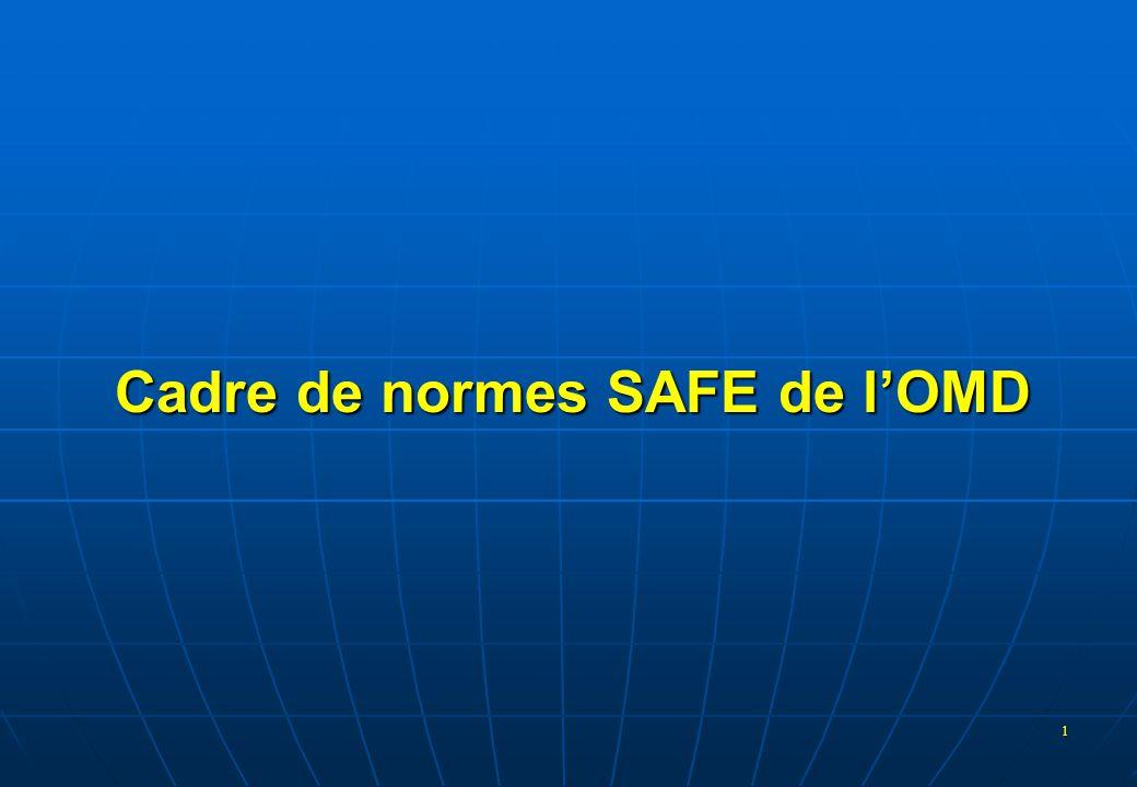 2 Cadre de normes SAFE  Adopté par le Conseil en juin 2005 •Cadre •Lettre d'intention visant à mettre le Cadre en oeuvre  149 Membres de l'OMD (dont le Maroc) se sont engagés à mettre le Cadre en oeuvre  Version révisée acceptée par le Conseil en 2007