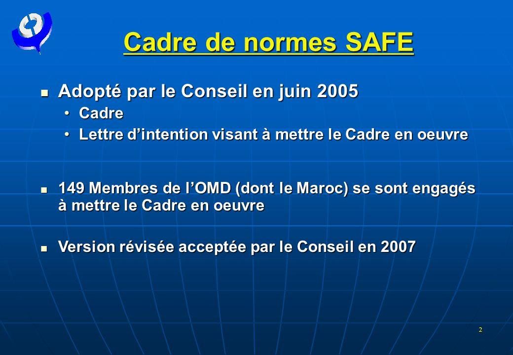 2 Cadre de normes SAFE  Adopté par le Conseil en juin 2005 •Cadre •Lettre d'intention visant à mettre le Cadre en oeuvre  149 Membres de l'OMD (dont