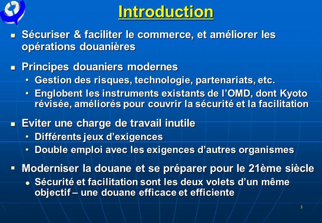 3 Introduction  Sécuriser & faciliter le commerce, et améliorer les opérations douanières  Principes douaniers modernes •Gestion des risques, techno