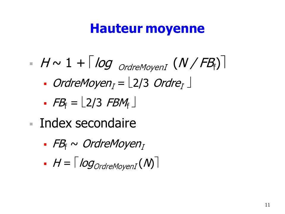 11 Hauteur moyenne  H ~ 1 +  log OrdreMoyenI (N / FB f )   OrdreMoyen I =  2/3 Ordre I   FB f =  2/3 FBM f   Index secondaire  FB f ~ OrdreMoyen I  H =  log OrdreMoyenI (N) 