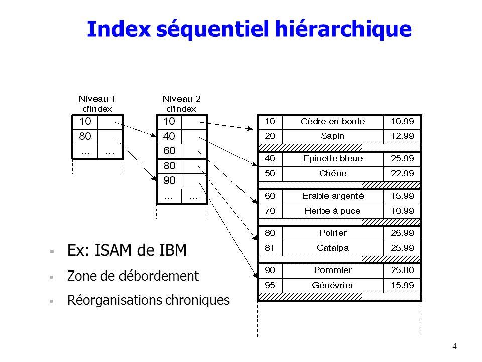 4 Index séquentiel hiérarchique  Ex: ISAM de IBM  Zone de débordement  Réorganisations chroniques