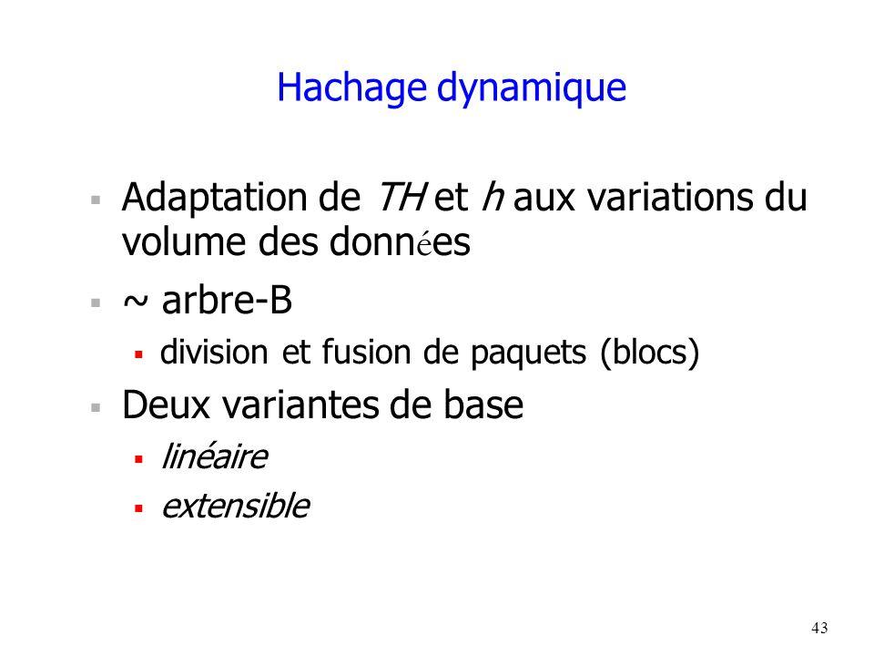 43 Hachage dynamique  Adaptation de TH et h aux variations du volume des donn é es  ~ arbre-B  division et fusion de paquets (blocs)  Deux variantes de base  linéaire  extensible