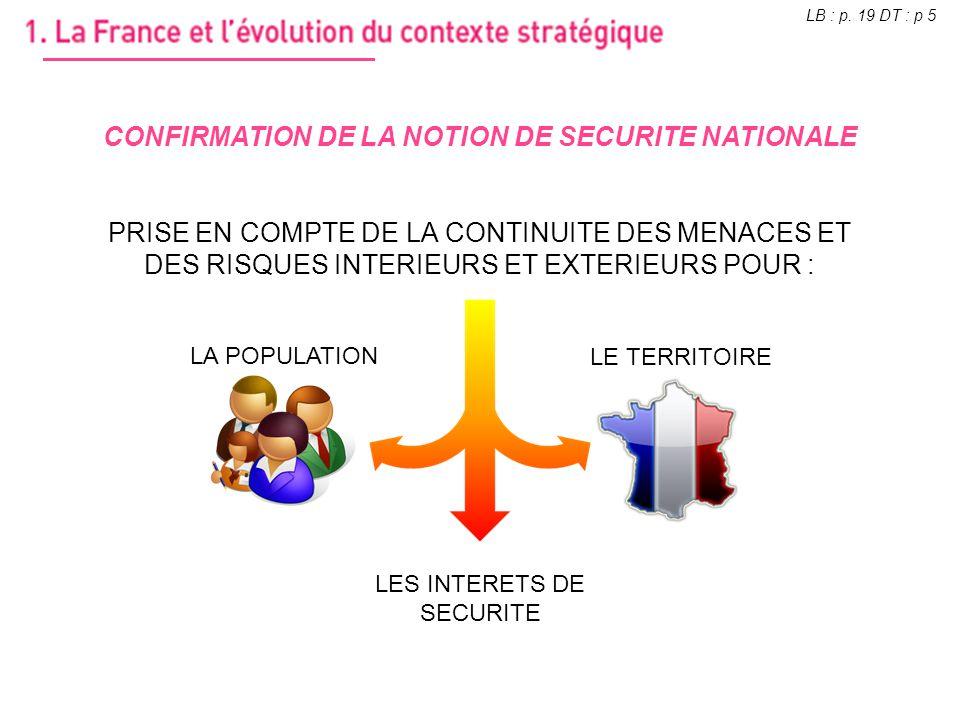 CONFIRMATION DE LA NOTION DE SECURITE NATIONALE PRISE EN COMPTE DE LA CONTINUITE DES MENACES ET DES RISQUES INTERIEURS ET EXTERIEURS POUR : LES INTERE