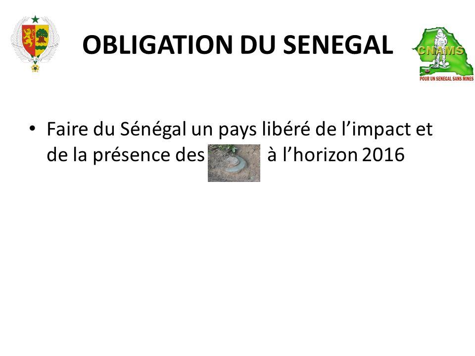 OBLIGATION DU SENEGAL • Faire du Sénégal un pays libéré de l'impact et de la présence des à l'horizon 2016