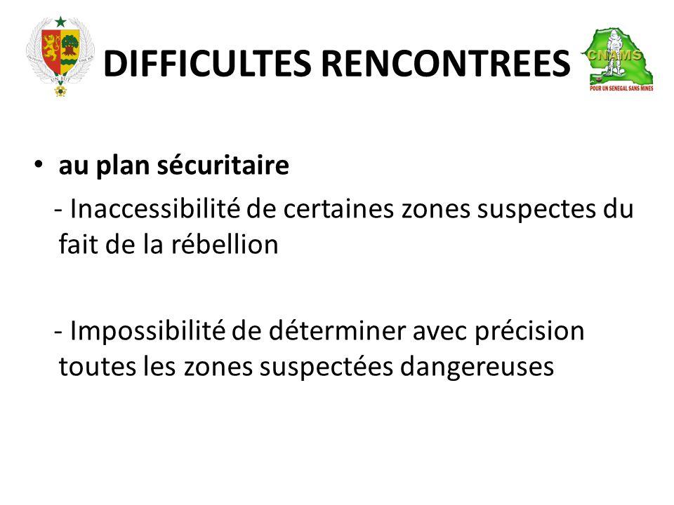 DIFFICULTES RENCONTREES • au plan sécuritaire - Inaccessibilité de certaines zones suspectes du fait de la rébellion - Impossibilité de déterminer avec précision toutes les zones suspectées dangereuses