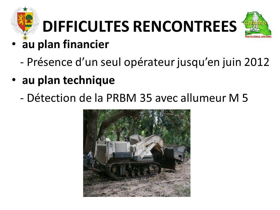 DIFFICULTES RENCONTREES • au plan financier - Présence d'un seul opérateur jusqu'en juin 2012 • au plan technique - Détection de la PRBM 35 avec allumeur M 5