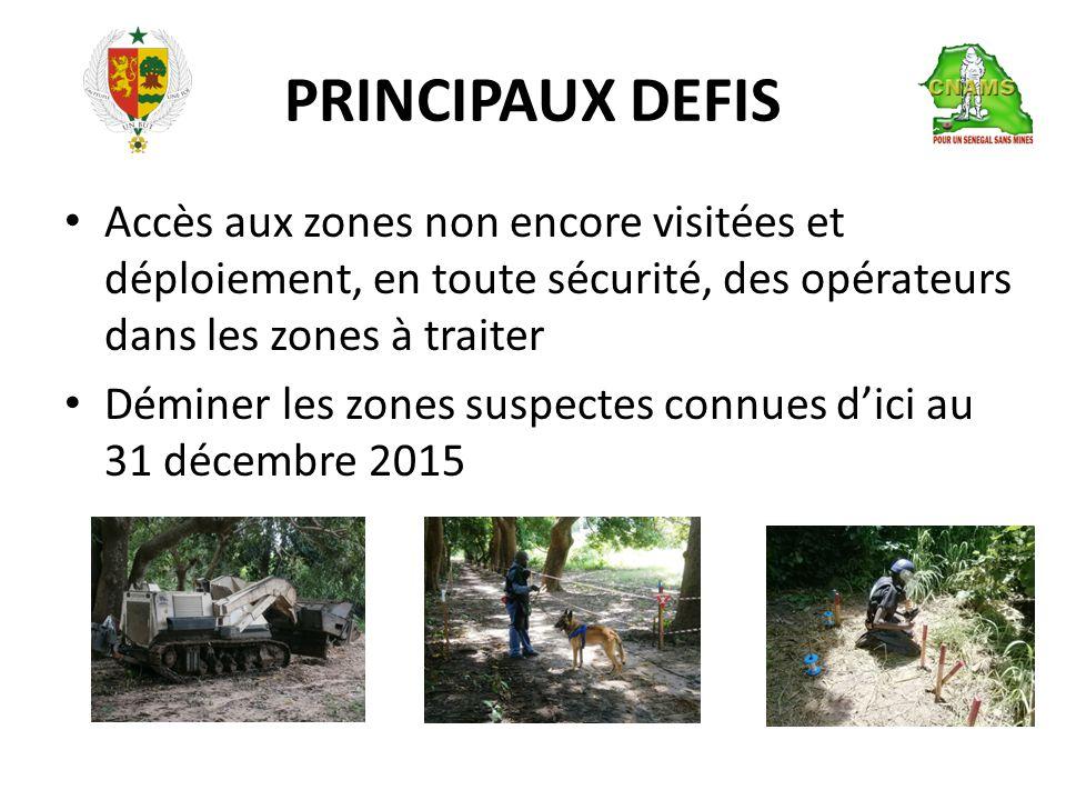 PRINCIPAUX DEFIS • Accès aux zones non encore visitées et déploiement, en toute sécurité, des opérateurs dans les zones à traiter • Déminer les zones suspectes connues d'ici au 31 décembre 2015
