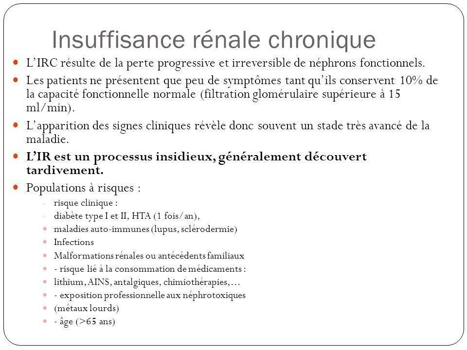 Insuffisance rénale chronique LIRC résulte de la perte progressive et irreversible de néphrons fonctionnels. Les patients ne présentent que peu de sym