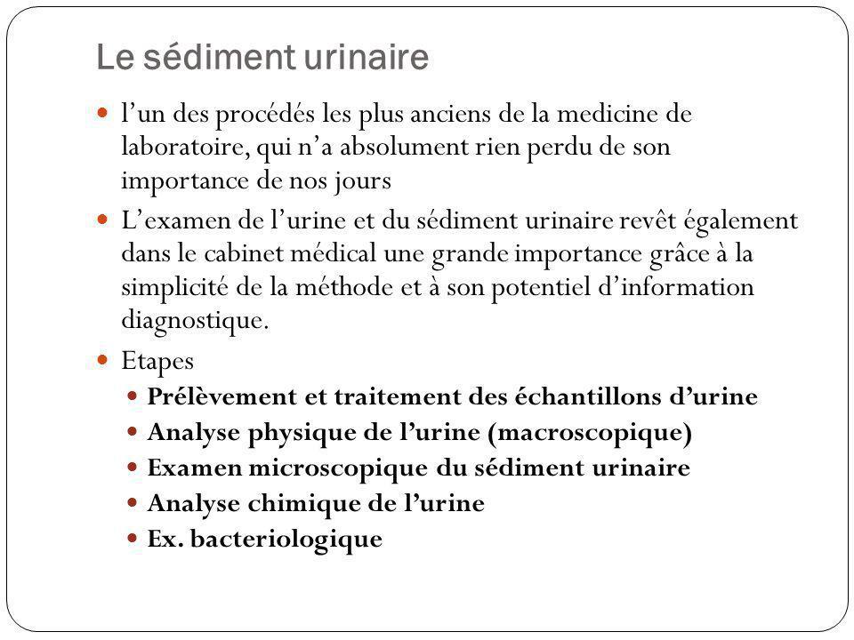 Le sédiment urinaire lun des procédés les plus anciens de la medicine de laboratoire, qui na absolument rien perdu de son importance de nos jours Lexa
