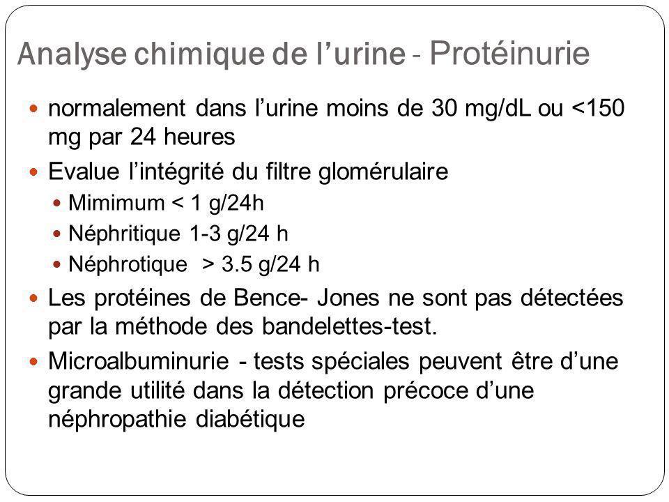 Analyse chimique de lurine - Protéinurie normalement dans lurine moins de 30 mg/dL ou <150 mg par 24 heures Evalue lintégrité du filtre glomérulaire M