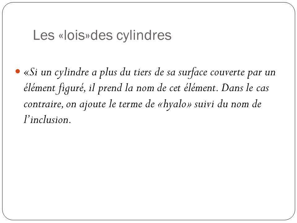 Les «lois»des cylindres «Si un cylindre a plus du tiers de sa surface couverte par un élément figuré, il prend la nom de cet élément. Dans le cas cont
