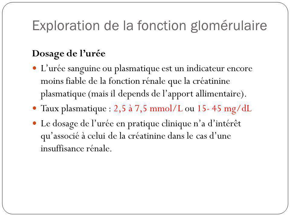 Exploration de la fonction glomérulaire Créatininémie / clairance de la créatinine Taux plasmatique : 50 à 120 μmol/L ou 0.8-1.8 mg/dL Clairance = U x V/P (en ml/min) U = conc urinaire mesurée sur urines de 24h ; P = conc plasmatique de créatinine ; V = débit urinaire en ml/min Valeur de référence : 90 à 140 ml/min Une clairance inférieure témoigne dune insuffisance de la filtration glomérulaire