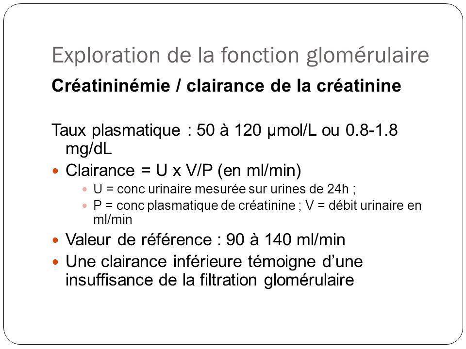 Exploration de la fonction glomérulaire Créatininémie / clairance de la créatinine Taux plasmatique : 50 à 120 μmol/L ou 0.8-1.8 mg/dL Clairance = U x