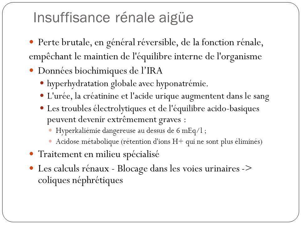 Insuffisance rénale chronique LIRC résulte de la perte progressive et irreversible de néphrons fonctionnels.