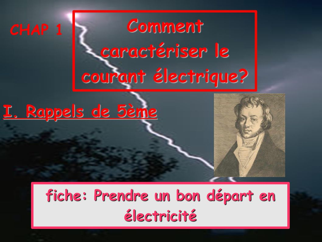 Comment caractériser le courant électrique? CHAP 1 I. Rappels de 5ème fiche: Prendre un bon départ en électricité fiche: Prendre un bon départ en élec