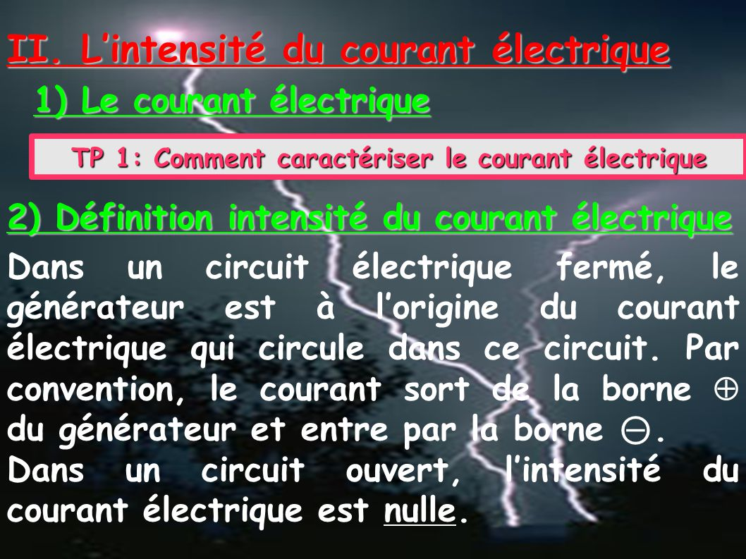 1) Le courant électrique II. L'intensité du courant électrique TP 1: Comment caractériser le courant électrique 2) Définition intensité du courant éle
