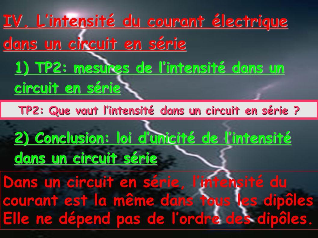 IV. L'intensité du courant électrique dans un circuit en série 1) TP2: mesures de l'intensité dans un circuit en série TP2: Que vaut l'intensité dans