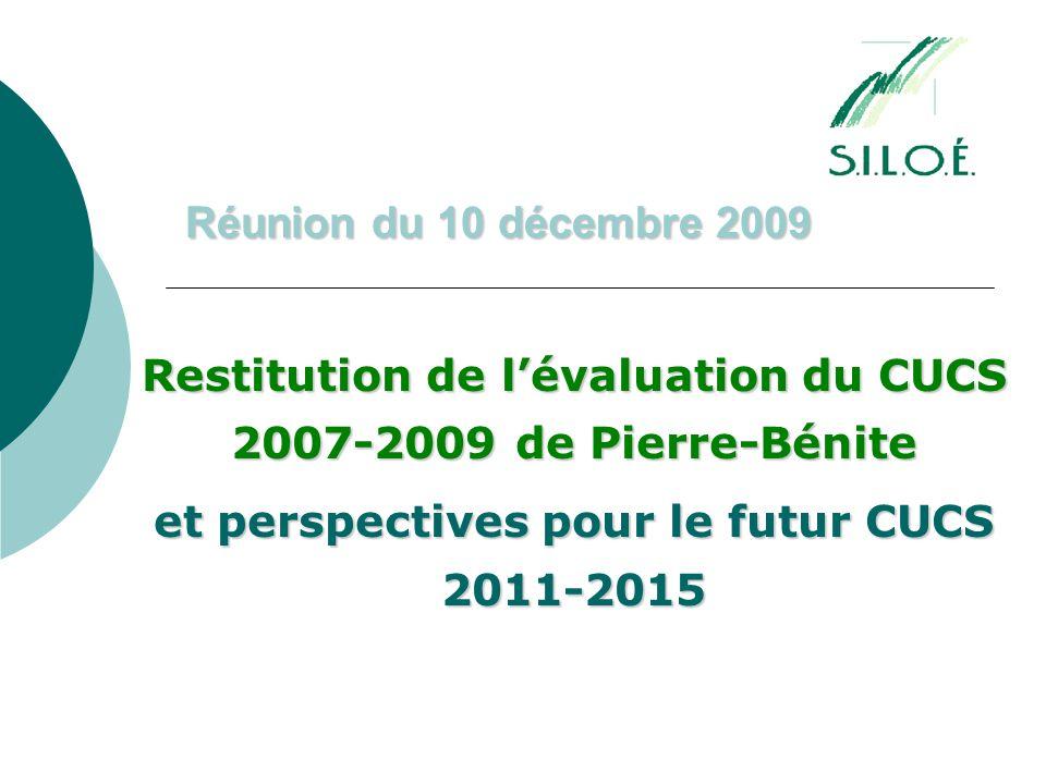 Réunion du 10 décembre 2009 Restitution de l'évaluation du CUCS 2007-2009 de Pierre-Bénite et perspectives pour le futur CUCS 2011-2015