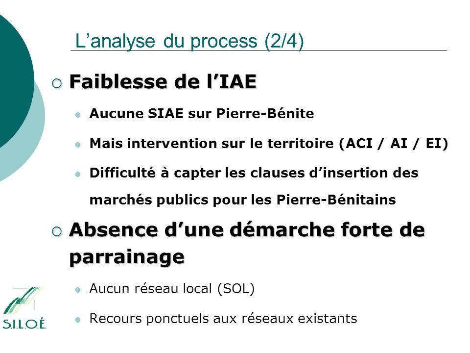 L'analyse du process (2/4)  Faiblesse de l'IAE  Aucune SIAE sur Pierre-Bénite  Mais intervention sur le territoire (ACI / AI / EI)  Difficulté à c