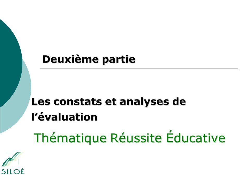 Deuxième partie Les constats et analyses de l'évaluation Thématique Réussite Éducative