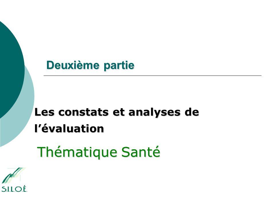 Deuxième partie Les constats et analyses de l'évaluation Thématique Santé