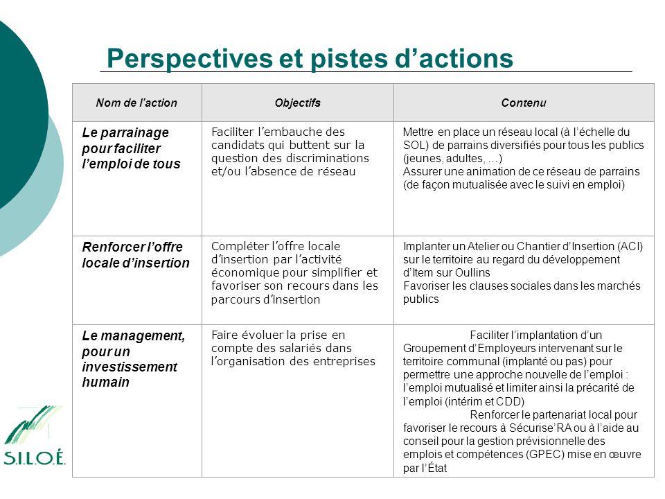 Perspectives et pistes d'actions Nom de l'actionObjectifsContenu Le parrainage pour faciliter l'emploi de tous Faciliter l'embauche des candidats qui