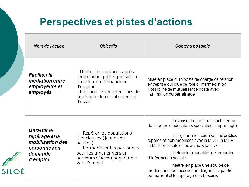 Perspectives et pistes d'actions Nom de l'actionObjectifsContenu possible Faciliter la médiation entre employeurs et employés - Limiter les ruptures a