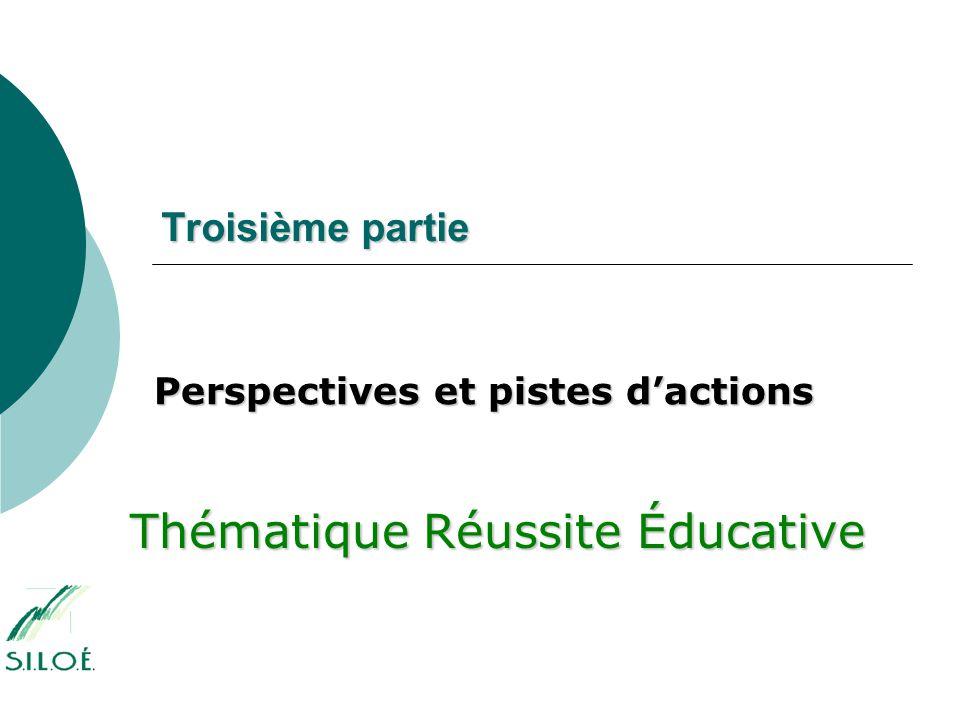 Troisième partie Perspectives et pistes d'actions Thématique Réussite Éducative