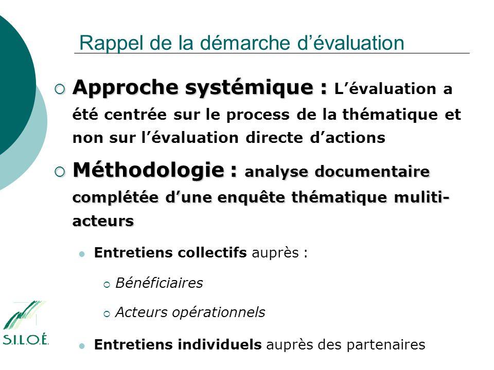 Rappel de la démarche d'évaluation  Approche systémique :  Approche systémique : L'évaluation a été centrée sur le process de la thématique et non s