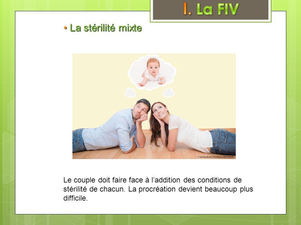 • La stérilité mixte Le couple doit faire face à l'addition des conditions de stérilité de chacun. La procréation devient beaucoup plus difficile.