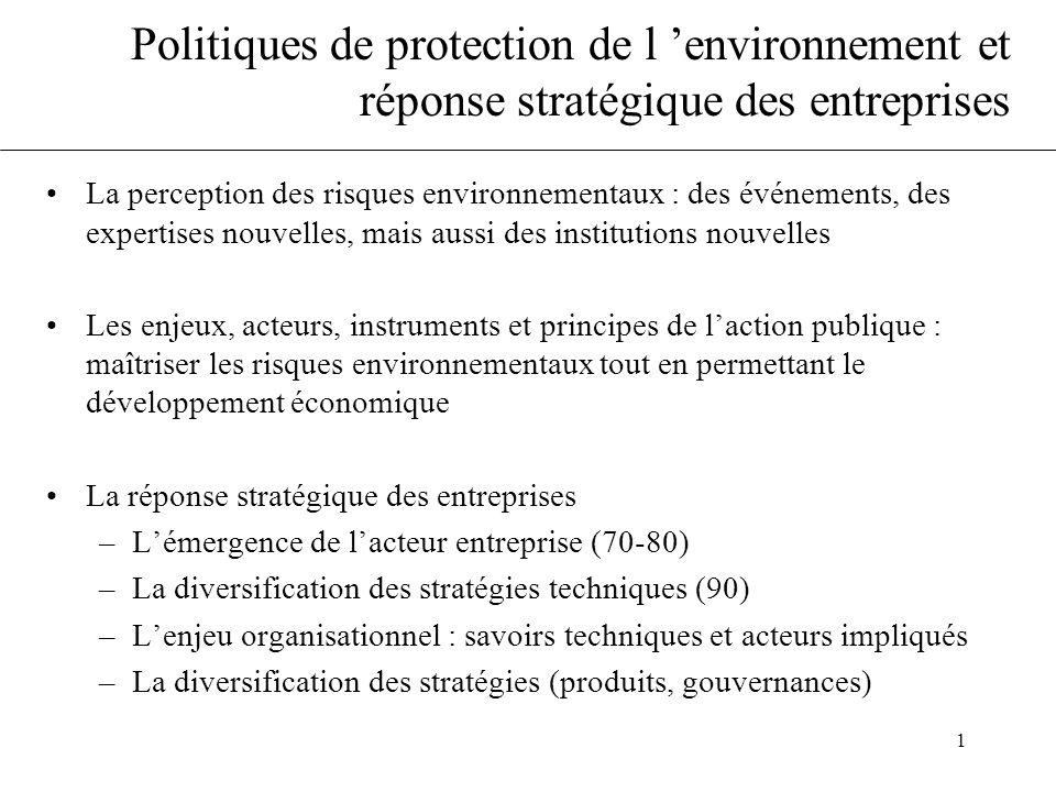 1 Politiques de protection de l 'environnement et réponse stratégique des entreprises •La perception des risques environnementaux : des événements, de