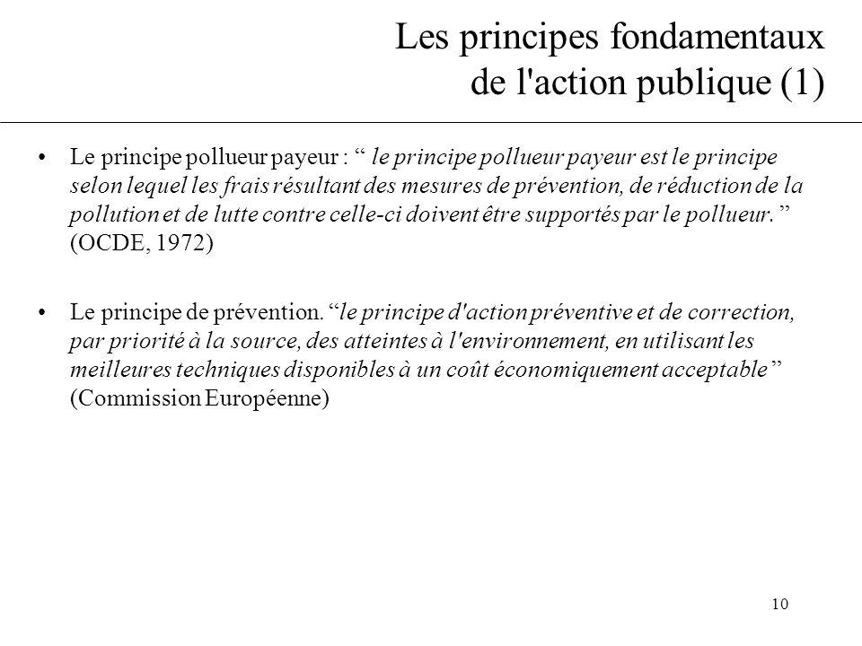"""10 Les principes fondamentaux de l'action publique (1) •Le principe pollueur payeur : """" le principe pollueur payeur est le principe selon lequel les f"""