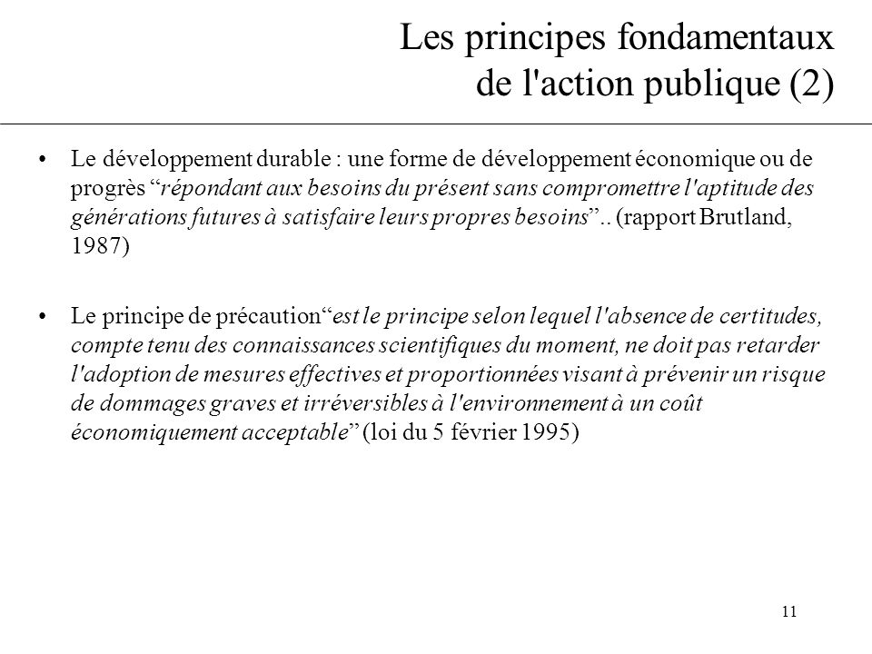 11 Les principes fondamentaux de l action publique (2) •Le développement durable : une forme de développement économique ou de progrès répondant aux besoins du présent sans compromettre l aptitude des générations futures à satisfaire leurs propres besoins ..