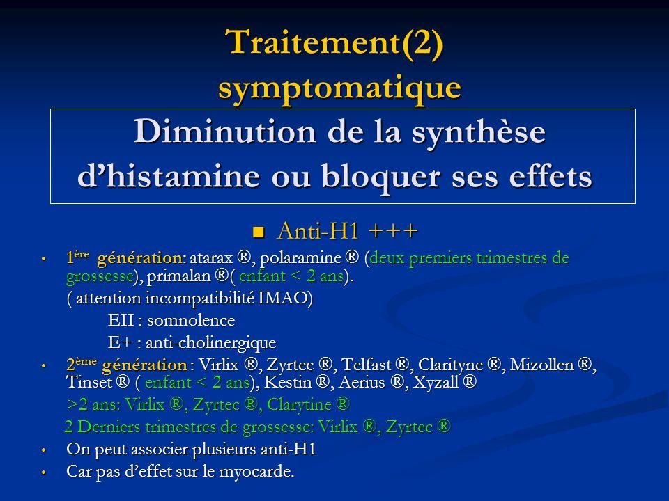 Traitement(2) symptomatique Diminution de la synthèse d'histamine ou bloquer ses effets  Anti-H1 +++ • 1 ère génération: atarax ®, polaramine ® (deux