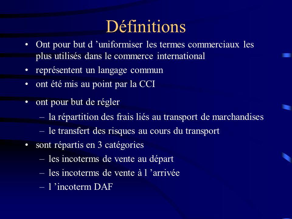 Définitions •Ont pour but d 'uniformiser les termes commerciaux les plus utilisés dans le commerce international •représentent un langage commun •ont