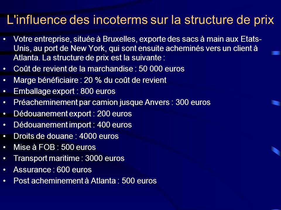 L'influence des incoterms sur la structure de prix •Votre entreprise, située à Bruxelles, exporte des sacs à main aux Etats- Unis, au port de New York