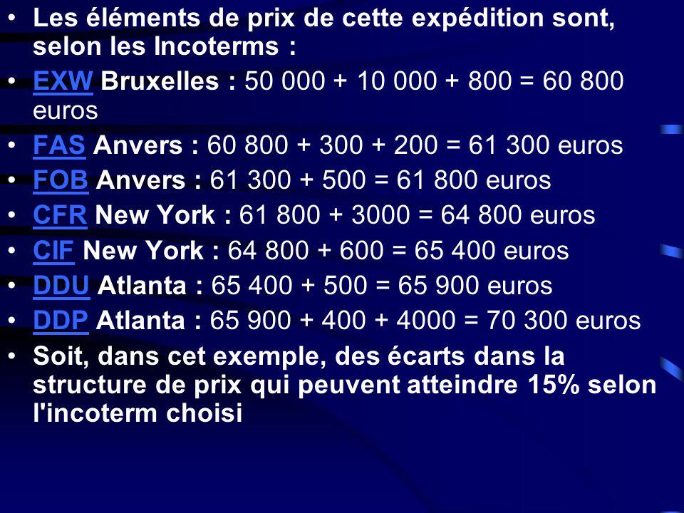 •Les éléments de prix de cette expédition sont, selon les Incoterms : •EXW Bruxelles : 50 000 + 10 000 + 800 = 60 800 eurosEXW •FAS Anvers : 60 800 +