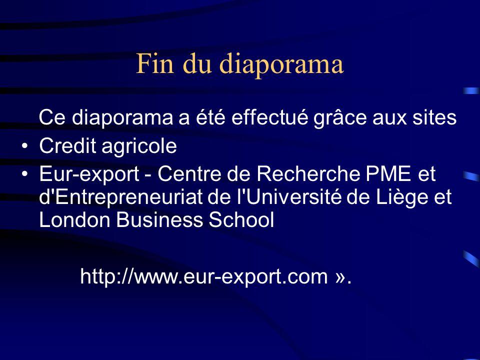 Fin du diaporama Ce diaporama a été effectué grâce aux sites •Credit agricole •Eur-export - Centre de Recherche PME et d'Entrepreneuriat de l'Universi