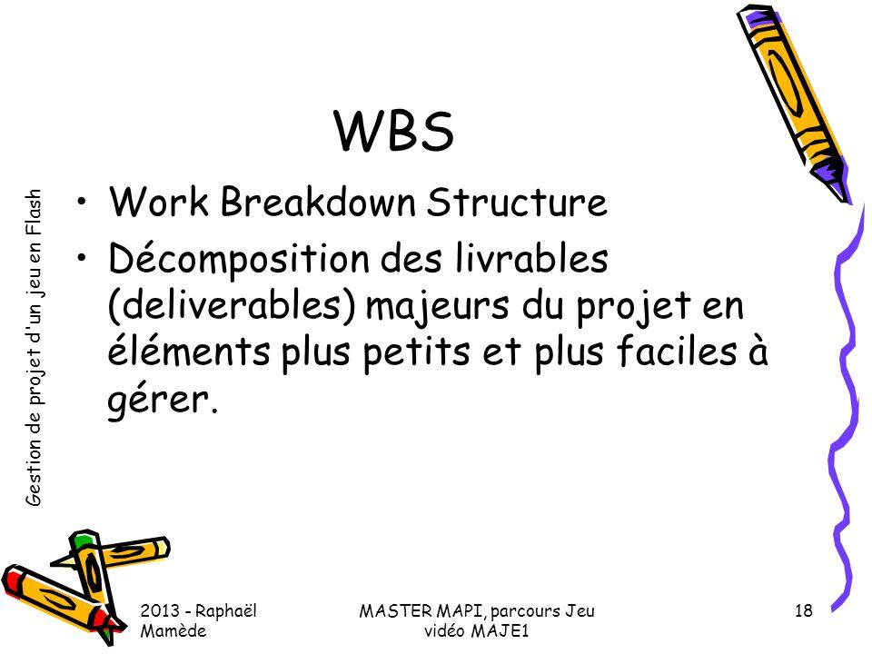 Gestion de projet d'un jeu en Flash 2013 - Raphaël Mamède MASTER MAPI, parcours Jeu vidéo MAJE1 18 WBS •Work Breakdown Structure •Décomposition des li