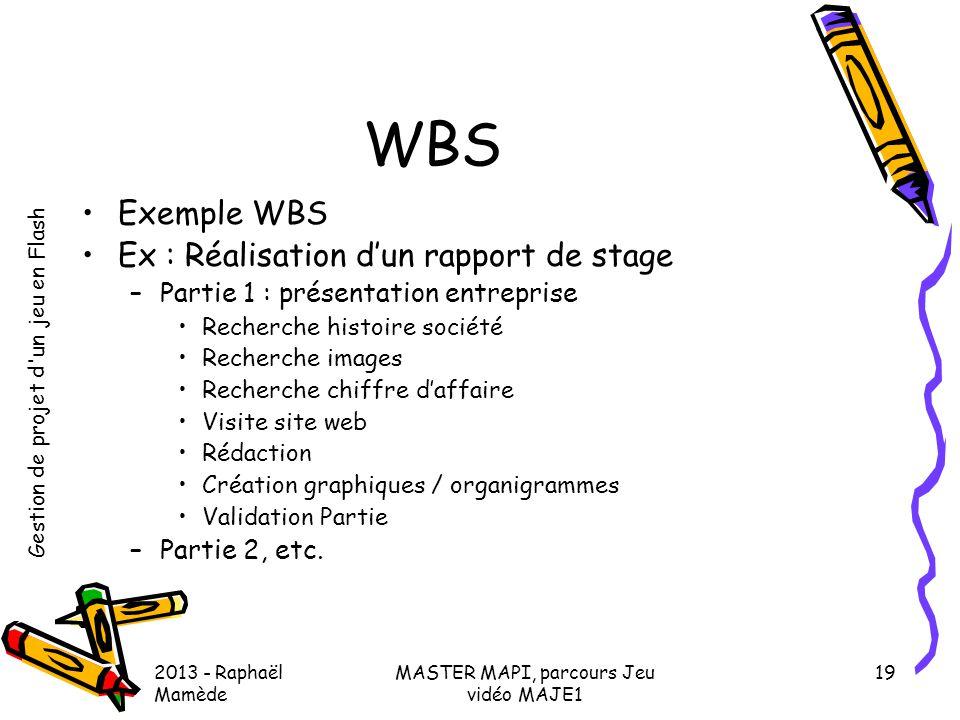 Gestion de projet d'un jeu en Flash 2013 - Raphaël Mamède MASTER MAPI, parcours Jeu vidéo MAJE1 19 WBS •Exemple WBS •Ex : Réalisation d'un rapport de